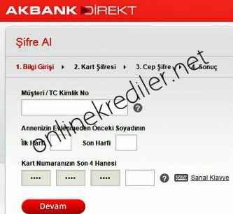 akbank direkt sifre alma ekrani