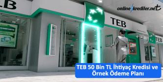 """TEB 50 Bin TL İhtiyaç Kredisi ve Örnek Ödeme Planı<span style=""""font-size: 16px;""""></span>"""