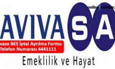 Avivasa BES İptal Ayrılma Formu Telefon Numarası 4441111