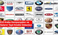 2018 Araba Kampanyaları ve Markaların Taşıt Kredisi İmkanları