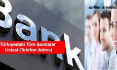 Türkiyedeki Tüm Bankalar Listesi (Telefon Adres)